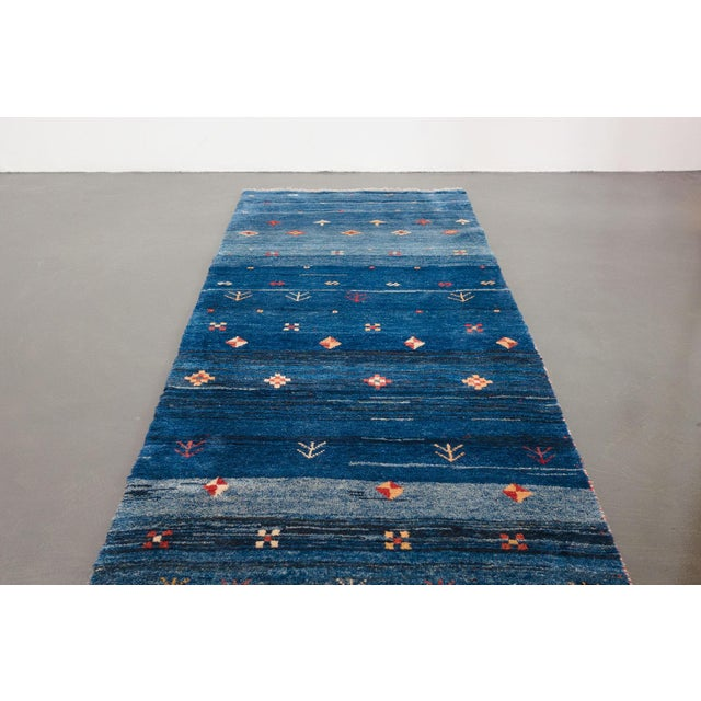 Late 20th Century Blue Persian Gabbeh Rug - 2′11″ × 9′7″ For Sale - Image 5 of 8