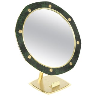 Contemporary Gilt Brass and Faux Marble Vanity or Table Mirror For Sale