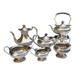 1910s Art Nouveau Sheffield Silver Plate Six Piece Tea and Coffee Set - Set of 6 For Sale