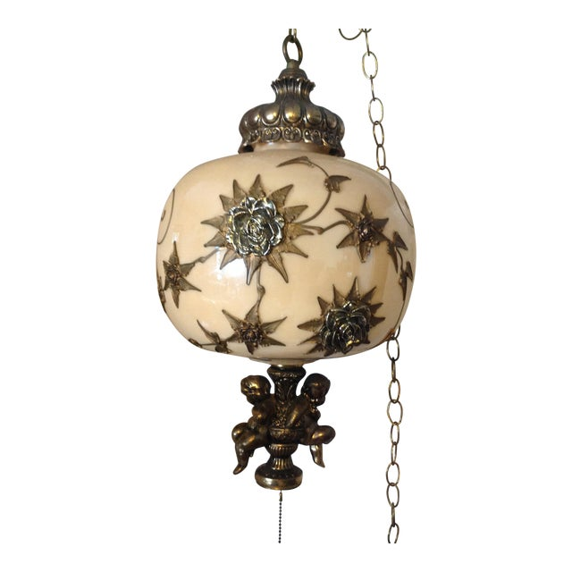 Hollywood Regency Hanging Swag Lamp With Cherubs For Sale