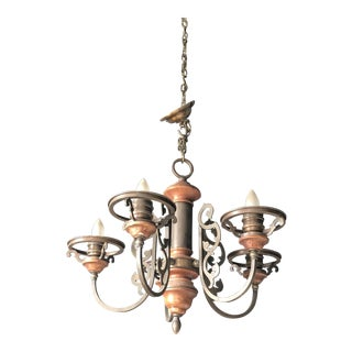 Colonial 5 Light Iron and Wood Chandelier