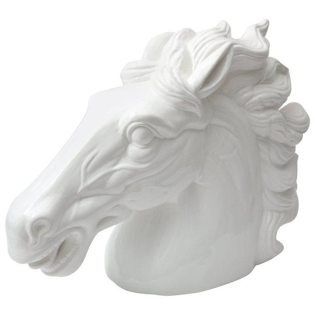 Late 20th Century Monumental Italian White Horse Head Sculpture For Sale - Image 10 of 10