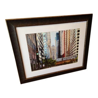 """""""Looking Down LaSalle Street"""" Matted & Framed Print For Sale"""