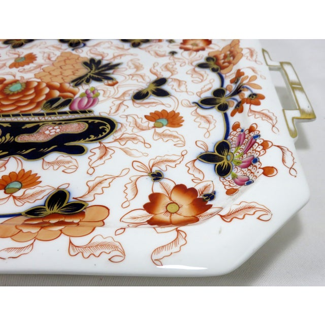 Blue Antique Bone China Imari Style Serving Tray For Sale - Image 8 of 13