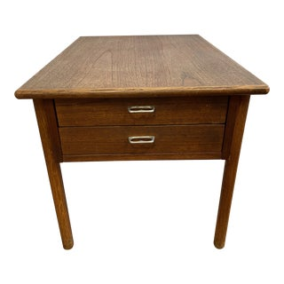 Mid 20th Century Teak Side Table + Shallow Drawers For Sale