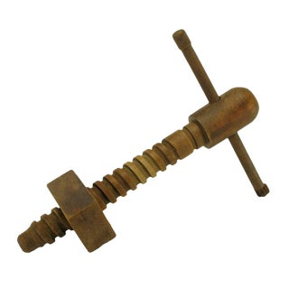 Vintage Carved Wood Screw Press For Sale