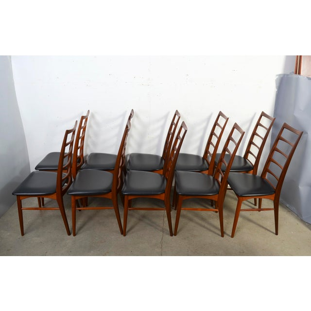 "1960s 1960s Vintage Niels Koefoed for Koefoed Hornslet Teak ""Lis"" Dining Chairs- Set of 10 For Sale - Image 5 of 8"