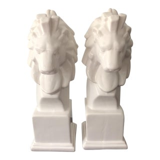 White Porcelain Lion Bookends - a Pair