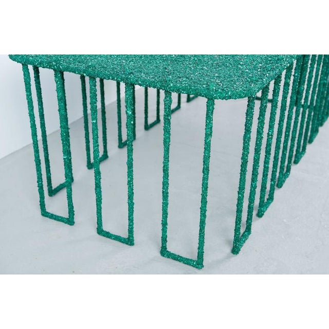Gemstone Hand Made Coffee Table of Crushed Malachite of the Congo, by Samuel Amoia For Sale - Image 7 of 10
