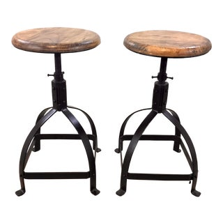 Industrial Modern Wood and Metal Adjustable Counter Stool Pair For Sale
