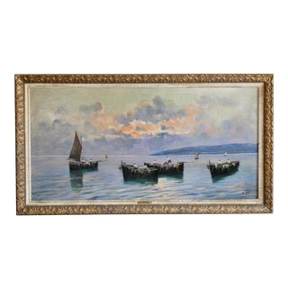"""Large Italian Nautical Oil Painting of the Ocean at Sunset by Listed Artist """"Lisani"""" For Sale"""
