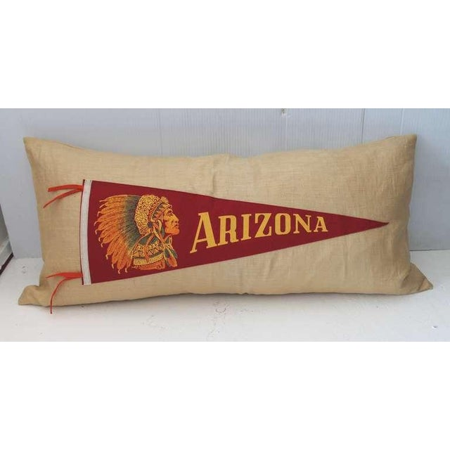 Primitive Arizona Indian Pennant on Linen Pillow For Sale - Image 3 of 4