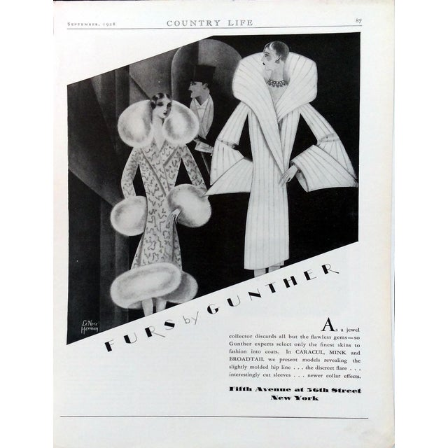 "1928 ""Furs by Gunther"" Advertisments - Pair - Image 2 of 10"
