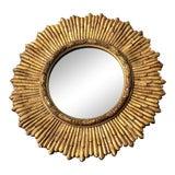 Image of Mid-Century Gilded Wood & Gesso Sunburst Convex Mirror For Sale