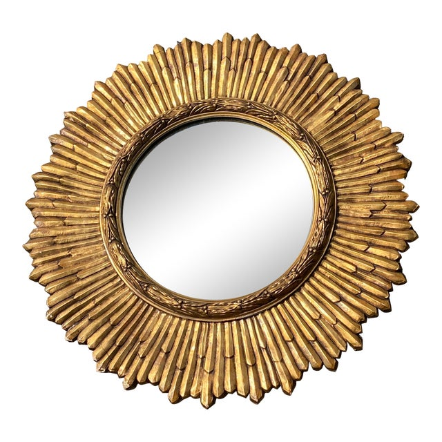 Mid-Century Gilded Wood & Gesso Sunburst Convex Mirror For Sale