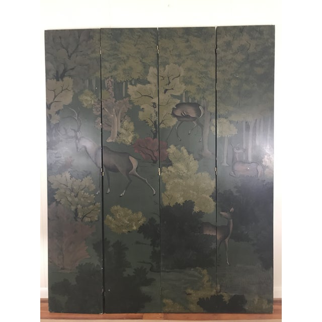 Adirondack Painted Four Panel Screen With Landscape and Deer For Sale - Image 3 of 13
