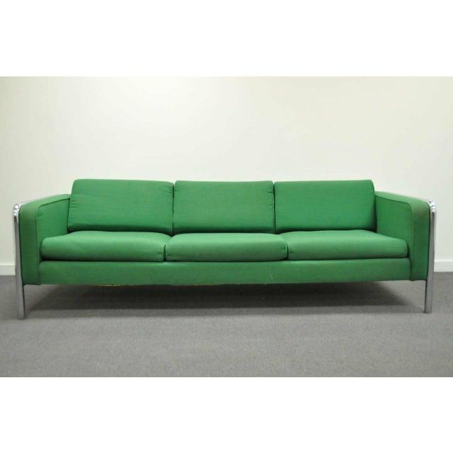 Mid Century Modern Milo Baughman Style Tubular Chrome Frame Green 3 Seat Sofa For Sale - Image 10 of 10