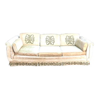 Broyhill Chartreuse Velvet Embroidered Curve-Side Sofa For Sale