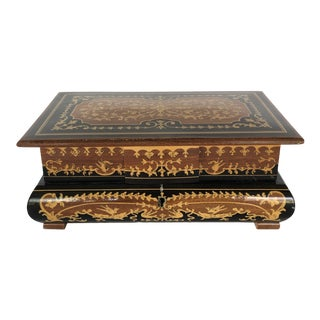 Spanish Colonial Style Faux Marquetry Wood Box For Sale