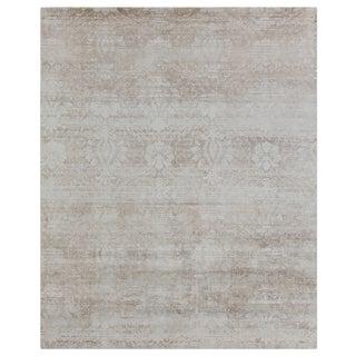 "Bridgewater Hand loom Bamboo/Silk Beige/Multi Rug-10'x14"" For Sale"