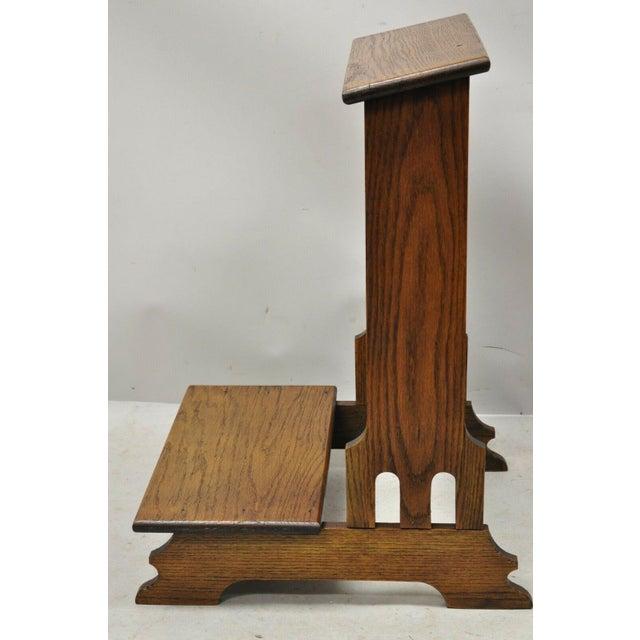 Vintage Arts & Crafts Mission Oak Wood Prayer Kneeler Kneeling Bench Seat For Sale - Image 4 of 12
