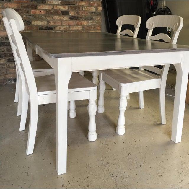 Rustic Pine Wood Dining Set - Image 9 of 10