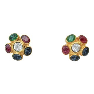 Ripoli Italian Gilt and Jeweled Earrings For Sale