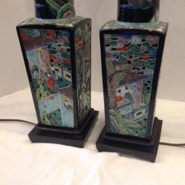 Figurative Early 20th Century Famille Noire Chinese Lamps - a Pair For Sale - Image 3 of 13