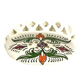Handpainted Moroccan Ceramic Soap Dish For Sale