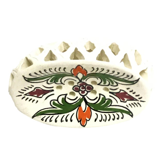 Handpainted Moroccan Ceramic Soap Dish - Image 1 of 3