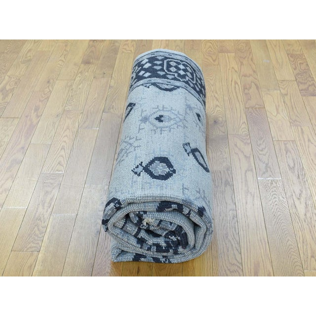 Hand-Knotted Wool Turkish Knot Oushak Cropped Rug- 9′2″ × 11′10″ For Sale - Image 10 of 12