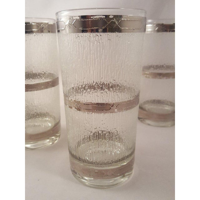 Glass Culver Suburban Wet Textured Platinum Banded Tumblers - Set of 6 For Sale - Image 7 of 11