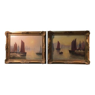 Seascape Oil Paintings by John A. Evans - Set of 2 For Sale