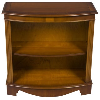 1960s Traditional Short Narrow Bow Front Open Mahogany Bookcase