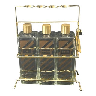 Vintage Brass Tantalus Decanter Set