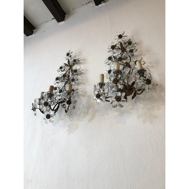 Huge Clear Flower Maison Bagues Style Three-Light Sconces For Sale - Image 9 of 10