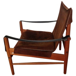 Safari Antilop Chair by Hans Olsen, Suede Seat, Leather Arms, Oak Frame, 1950s For Sale