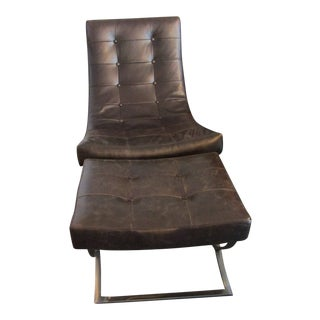 Mid Century Modern Brown Leather Chrome Chair & Footstool For Sale