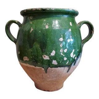 "19th Century Green Glazed Terra Cotta ""Confit"" Pot For Sale"