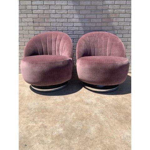 Contemporary Mid Century Modern Milo Baughman Channel Back Swivel Chairs Newly Upholstered - Pair For Sale - Image 3 of 12