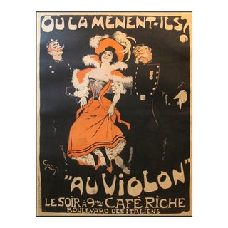 1898 Original Vintage French Belle Epoque Poster, Ou La Menent Ils? - Grun For Sale