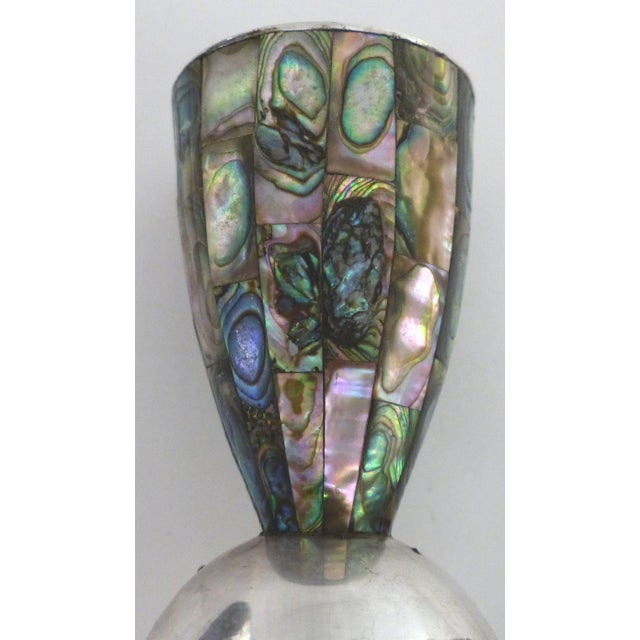 Green Los Castillo 'Taxco, Mexico' Silver Plate and Abalone Candle Holders - a Pair For Sale - Image 8 of 11