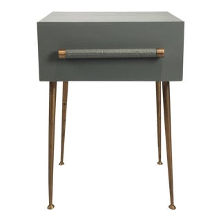 Danish Modern One-Drawer Bedside Table With Wicker and Brass Pull/Legs