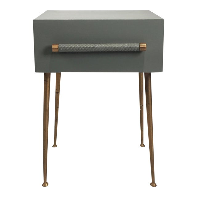 Danish Modern One-Drawer Bedside Table With Wicker and Brass Pull/Legs For Sale