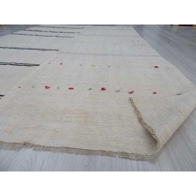"""Vintage Decorative Turkish Hemp Kilim Rug - 6'9"""" X 11'1"""" - Image 6 of 6"""