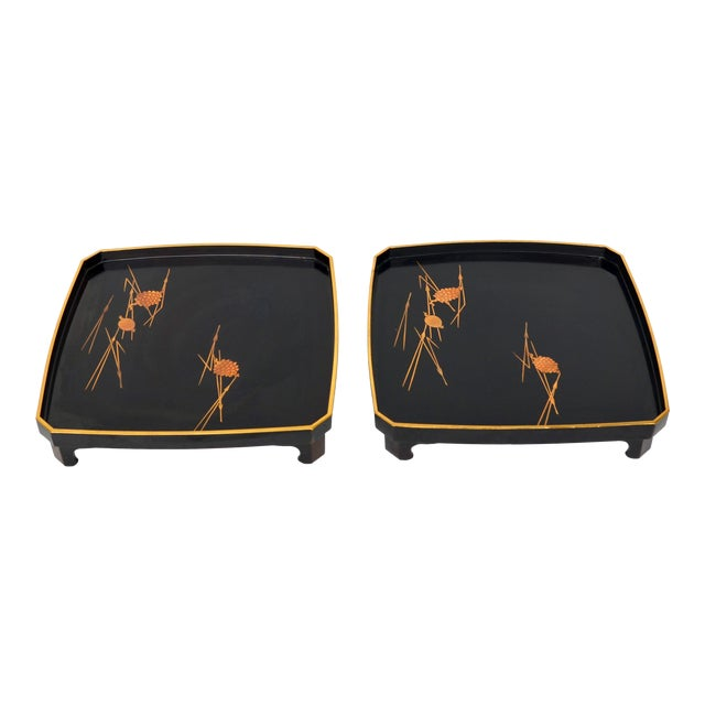 Japanese Vintage Lacquered Wood With Maki-E StackingTrays Pair For Sale