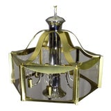 Image of Vintage Fredrick Ramond Brass Chrome & Glass Ceiling Light Fixture For Sale