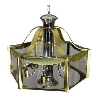 Vintage Fredrick Ramond Brass Chrome & Glass Ceiling Light Fixture For Sale