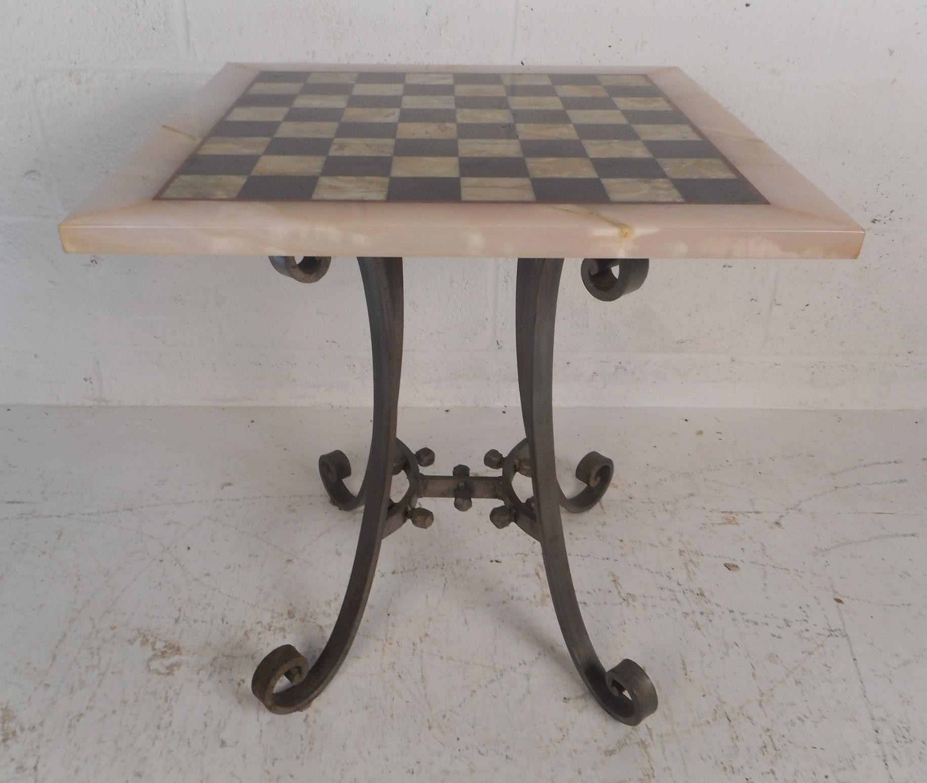 Mid-Century Modern Vintage Marble-Top Chessboard Game Table For Sale -  Image 3