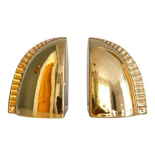 1970s Vintage Gold Jaru Bookends - a Pair For Sale